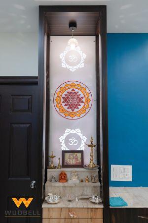 A sleek and tall design for Mandir design