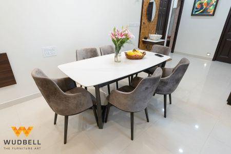 An exquisite six-seater dining table
