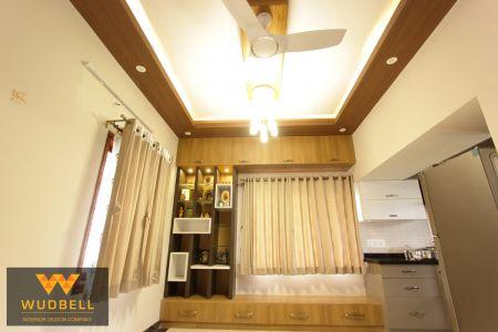 Dining showcase unit with veneer false ceiling
