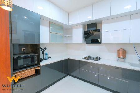 Grey and white acrylic laminate kitchen