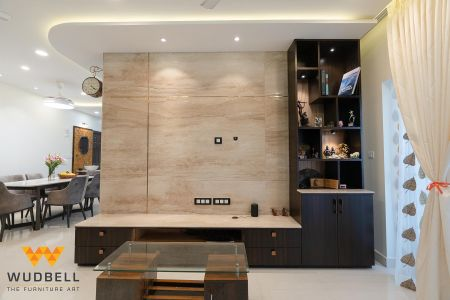 Italian Marble and Veneer for the Entertainment Unit