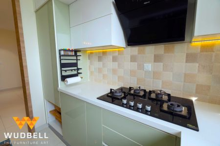 LED downlights compliment the modular kitchen